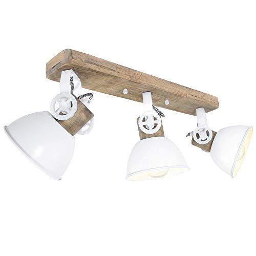 Decken Leuchte Holz Weiß bewegliche Strahler schwenkbar Arbeits Zimmer Beleuchtung Steinhauer 2133W
