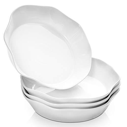 """DOWAN 9"""" Pasta Salad Bowls Set of 4, 34OZ Pasta Bowls for Kitchen, White Salad Serving Bowls, Microwave & Dishwasher Safe Ceramic Flower-Shaped Serving Bowls, Ideal for Pasta, Salad, Soup, Cereal"""