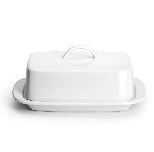 Sweese 312.101 Große Butterdose mit Griff Design – perfekt für 2 Sticks Butter und 237 ml Butter – Porzellan, weiß