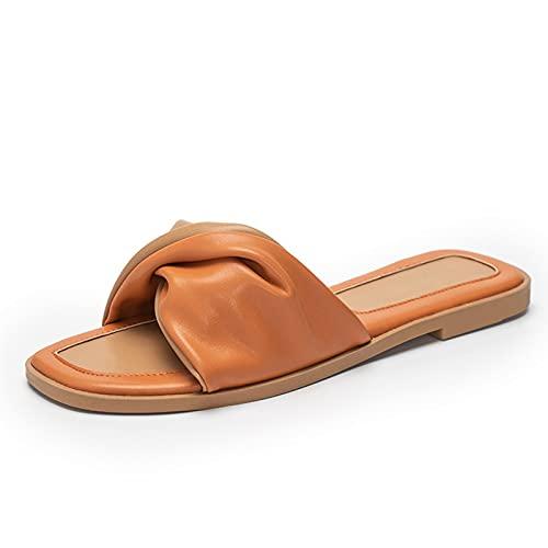 HAQMG Sandalias de cuero para mujer planas con puntera cuadrada y puntera abierta con soporte de arco para playa, diseño ergonómico, zapatos de mujer de moda negro (color: naranja, tamaño: EUR 41)