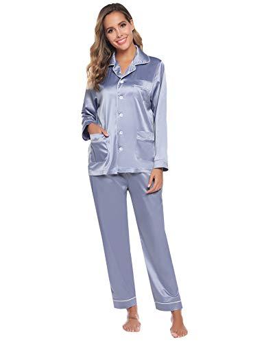Aibrou Damen Herbst Klassische Schlafanzug Satin V-Ausschnitt Zweiteiliges Pyjama Nachtwäsche Set (L, Silber-Grau(Neu))