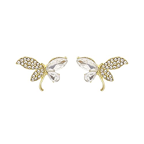 Uniqueheart Aguja de Plata Pendientes de Mariposa de Cristal con Tachuelas de Diamantes exquisitos Pendientes de diseño Simple, Compacto, versátil y de Moda - Plata