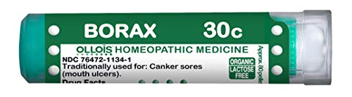 OLLOIS Organic LactoseFree Borax 30C Homeopathic Medicines Pellets 80 Ct for Canker Sores