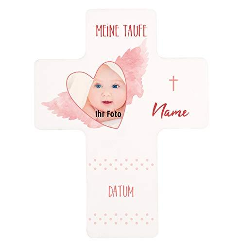 Striefchen® modernes Kinderkreuz zur Taufe mit dem Namen des Kindes und Datum Foto Mädchen