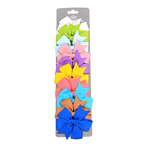 10 Pcs/set Grosgrain Ribbon Solid Hair Bows With Clip Cute Girls Hair Clips Hairpins Barrettes Headwear Kids Hair Accessories