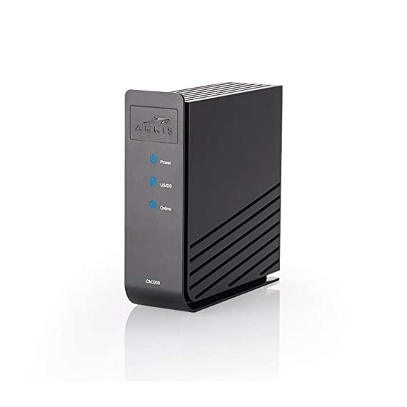 Arris touchstone cm3200 cable modem 32x8 up to 1gbps and 1 x gigabit ethernet port cm3200a 3 flexible ds x us channel bonding support (up to 32x8) ds spectrum analysis, speed test, and leds for fast troubleshooting up to 1 gbps and gigabit ethernet port