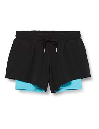 Marca Amazon - AURIQUE Shorts para Correr con Doble Capa Mujer, Negro (negro/azul Maui)., 38, Label:S