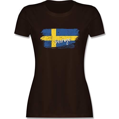 Fußball-Europameisterschaft 2020 - Schweden Vintage - M - Braun - WM - L191 - Tailliertes Tshirt für Damen und Frauen T-Shirt