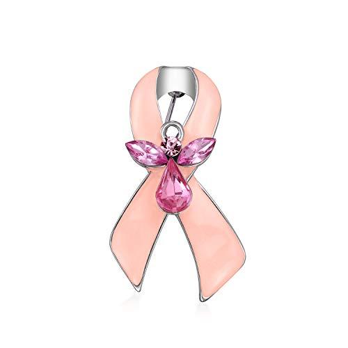 ピンクリボンクリスタル乳がんサバイバーガーディアンエンジェルクリスタルブローチピン女性エナメルシルバーメッキ