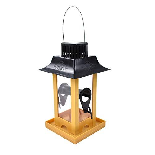 Comedero para Pájaros Gran capacidad Aves de comida envase solar luz alimentador de aves de aves Estación de alimentación de aves Pájaro salvaje de la estación de alimentación de semillas de madera