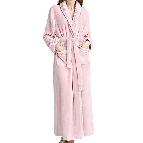 GODGETS Kimono Mujer Batas Hombre Albornoz de Forro Polar baño Toallas Ducha Invierno,Mas Suave Comodo y Agradable Rosado L