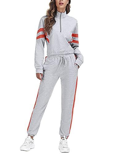 Doaraha Tuta da Ginnastica Donna in Cotone Tute Sportiva Donna Due Pezzi con Zip Abbigliamento Fitness per Casual Jogging Yoga S-XXL
