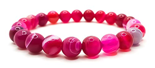 Pulsera elástica para hombre y mujer, con piedras preciosas naturales de 8 mm, para reiki, idea de regalo de cumpleaños, original difusor de energía para curar el equilibrio, Piedra, Ágata rosa,