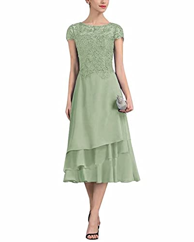 PearlBridal Women's A-Line Chiffon Lace Mother of The Bride Dresses Cap Sleeves Tea Length Evening Formal Dress Sage Green Size 14