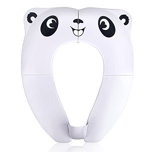 Pejoye Travel Toddler Toilet Seat, Portable Toilet Training Seat for Kids, Foldable Toilet Seat Toddler in ABS Material with 8 Anti Slip Silicon Pads and 1 Carry Bag, White Panda