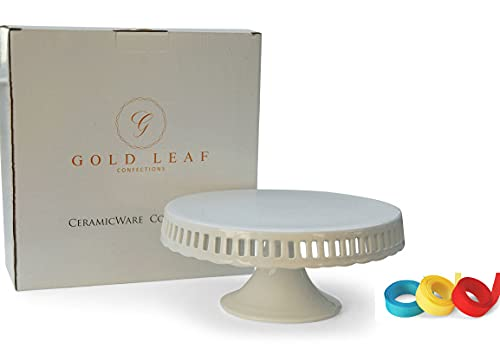 Pedestal Footed Cake Stand with Interchangeable Ribbon Trim (Includes 3 Grosgrain Ribbons)...