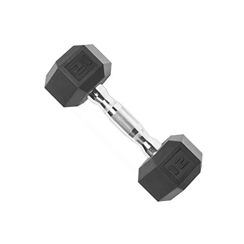 Cap Barbell Rubber Coated Hex Dumbbell with Contoured Chrome Handle (70-Pound)