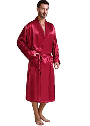 Herren Seide Bademantel Schlafanzug Rot Large