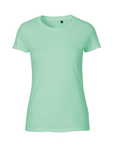 Green Cat Camiseta ajustada para mujer, 100% algodón orgánico. Certificado de comercio justo, Oeko-Tex y Ecolabel. verde menta XS