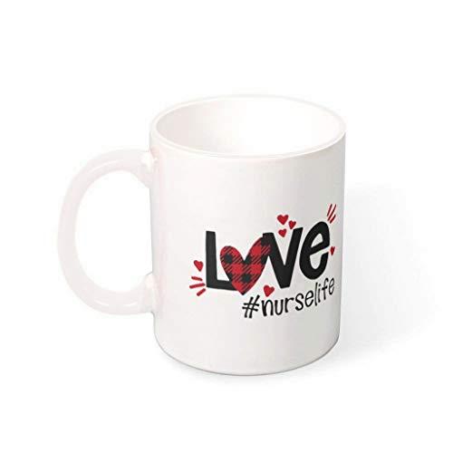 Lind88 Nurse Life Brewing Kaffeetasse mit Henkel, Keramik, einzigartige Tassen – Urlaub Weihnachten, geeignet für Familie (325 ml), Herren, weiß, 330ml