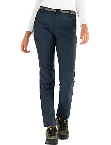 BenBoy Pantalones de Nieve Montaña Mujer Impermeables Invierno Calentar Pantalones Trekking Escalada Senderismo Esquiar Softshell,KZ3329W-Blue1-M