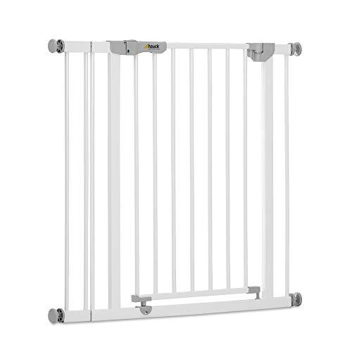 Hauck Tür-Treppengitter Autoclose'n Stop inkl. 9 cm ext. Verlängerung/automatisch selbstschließend/Sichtindikator/beidseitig zu öffnen/84 - 89 cm/bis 110 cm erweiterbar/für Geländer/ohne Bohren/weiß