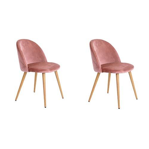 WV LeisureMaster Set di 2 poltroncine in velluto retro in tessuto, sedie da pranzo imbottite con gambe in metallo stile legno sala d'attesa soggiorno arredamento per ufficio moderno (Rosa)