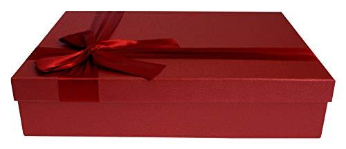Emartbuy Lusso Rigido Scatola Regalo a Forma di Rettangolo, 31,5 cm x 24 cm x 7 cm, Scatola Rossa Con Coperchio Rosso, Interni Color Cioccolato E Nastro Decorativo in Raso