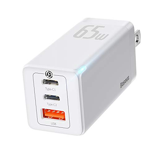 Baseus Cargador rápido USB C, 3 Puertos Type-C1 / C2 + USB-A 65W Power Delivery Pro con GaN2 Tech para iPhone, iPad, Samsung Galaxy/Note, Huawei, Xiaomi, Lenovo, Switch, etc. (lechoso)