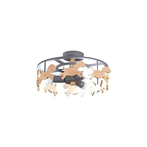 SPNEC Luces de dibujos animados creativa del carrusel simple techo blanco de la lámpara de techo creativo-luz de techo nórdica infantil de la lámpara LED de madera maciza de la muchacha del muchacho d