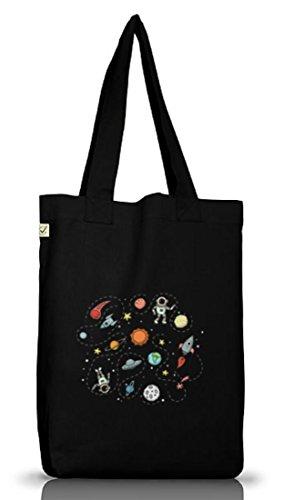 ShirtStreet Raumfahrer Jutebeutel Stoffbeutel Earth Positive mit Astronauten im Weltall Motiv, Größe: onesize,Black