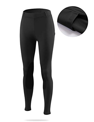 BALEAF Women's Riding Tights Knee-Patch Breeches Horse Pants Equestrian Active Schooling Pocket UPF50+ Black L