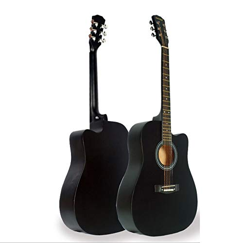 Boll-ATur 41-Zoll-Akustikgitarre Basswood Material Anfängergitarre Geeignet for Soloband Lernen Holzgitarre 5 Farben Optional (Color : Black)