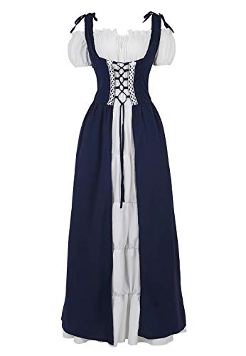 jutrisujo Rinascimentale Vestito Donna Medievale Abito Costume Manica Lunga Fancy Cosplay Vintage Carnevale Carnevale Partito Halloween Blu M