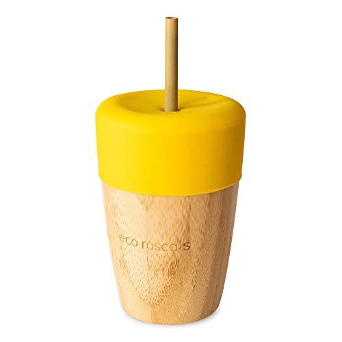 RASCALS Bicchiere in bambù Eco 240 ml + coperchio + 2 cannuccia, per bambini, giallo, taglia unica