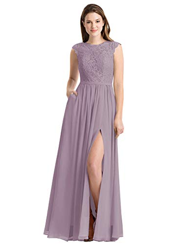 Women's A Line Bridesmaid Dresses Lace Bodice Cap Sleeves Wedding Guest Dress with Slit Size 2 Wisteria