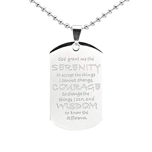 Minekkyes Collar con Colgante De Etiqueta De Perro De Oración De Serenidad De Acero Inoxidable Cadena De 60 Cm Plata