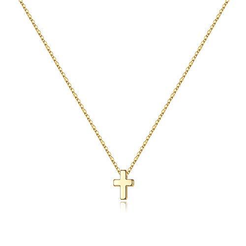M MOOHAM Cross Necklace for Women, Tiny Dainty Gold Small Cross Necklace for Women
