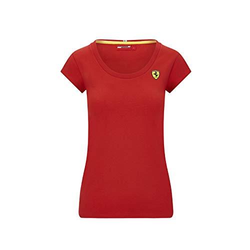 Scuderia Ferrari Offizielle Formel 1 Merchandise 2020 - Logo T-Shirt Damen - Rot - Baumwolle - M