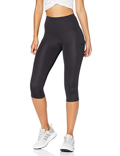 Marca Amazon - AURIQUE Mallas para Correr Capri con Tiro Alto Mujer, Negro (Black), 40, Label:M