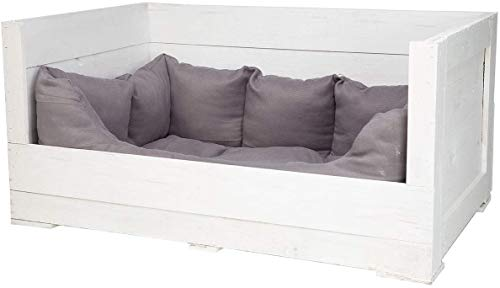Tolles Hundebett aus Holz mit Polsterung (Groß_Weiß) 90x57x45cm
