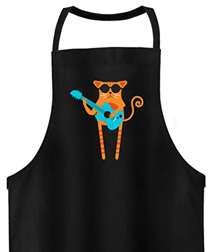 Rocker Cat Tablier de barbecue de qualité supérieure - Noir - taille unique