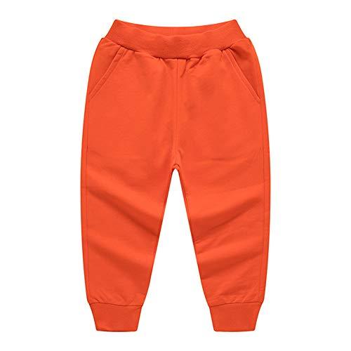 Kinder Jungen Mädchen Sporthose Baumwolle Freizeithose Jogginghose (Orange, 110-115)