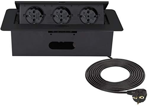Versenkbare Einbau Steckdosenleiste 3-fach - Black-Edition - Aluminium Spritzguss - mit Softöffnung - anschlussfertig mit Kabel und Stecker