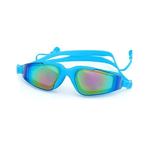 JYDZSW Gafas de natación Gafas de natación Hombres y Mujeres Enchufe Oído UV Proteger Impermeable Anti Niebla Adult Swim Pool Gafas Gafas Agua de natación Eyewear (Color : Sky Blue)