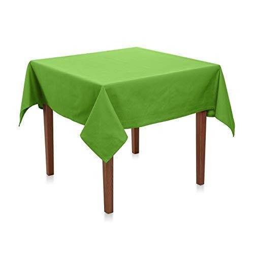 Mantel de algodón linón – fácil de limpiar, duradero, tela sin sustancias nocivas, mantel y decoración de mesa para fiestas, cumpleaños, bodas o uso diario (verde claro, 100 x 100 cm)