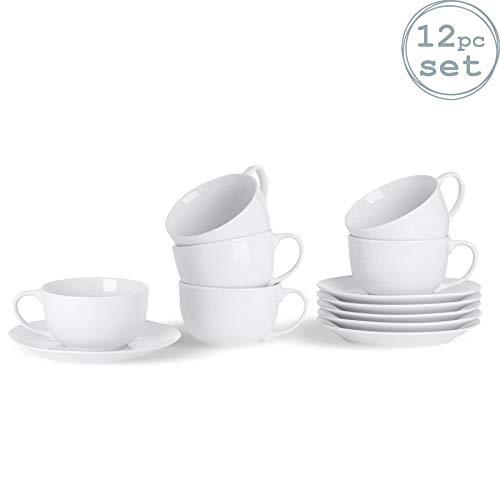 Argon Tableware Set Tazza Grande da Cappuccino e piattino - Bianco - 320 ml - 6 Pezzi