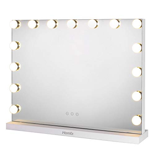 Homfa Hollywood Espejo de Maquillaje Espejo de Mesa 3 Modos de Bombillas LED Interruptor tocable 58×43cm