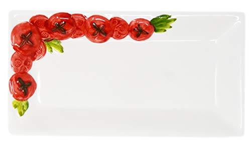 Lashuma Handgemachte Rechteckige Servierplatte aus Italienischer Keramik im Tomatendesign, Servierteller 24 x 13 cm