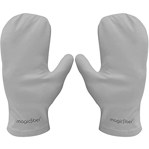 MagicFiber Microfiber Cleaning Gloves Mitts (1 Pair) Easily Clean, Polish, Dust - Crystal, Wine Glass, Screens, Fingerprints, Tarnish, Silver, Silverware, Jewelry